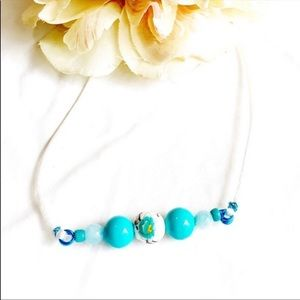 Spring Blossom Teal Accented Necklace